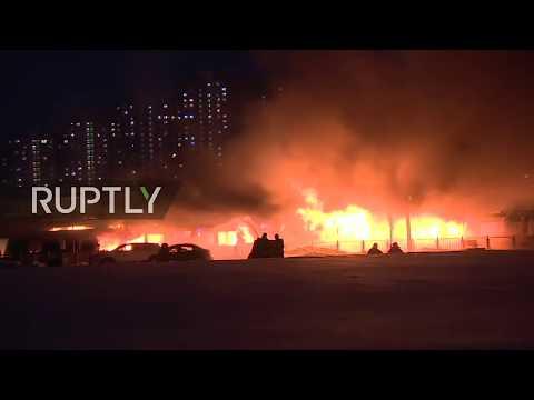 LIVE: Firefighters battle ship ablaze on Moskva River