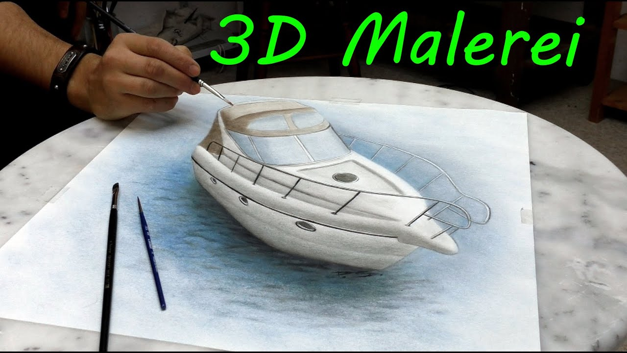 yacht gemalt in 3d realistische malerei youtube. Black Bedroom Furniture Sets. Home Design Ideas