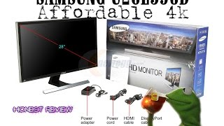 SAMSUNG U28E590D Black 28 inch 4K UHD Widescreen Monitor unboxing and Review