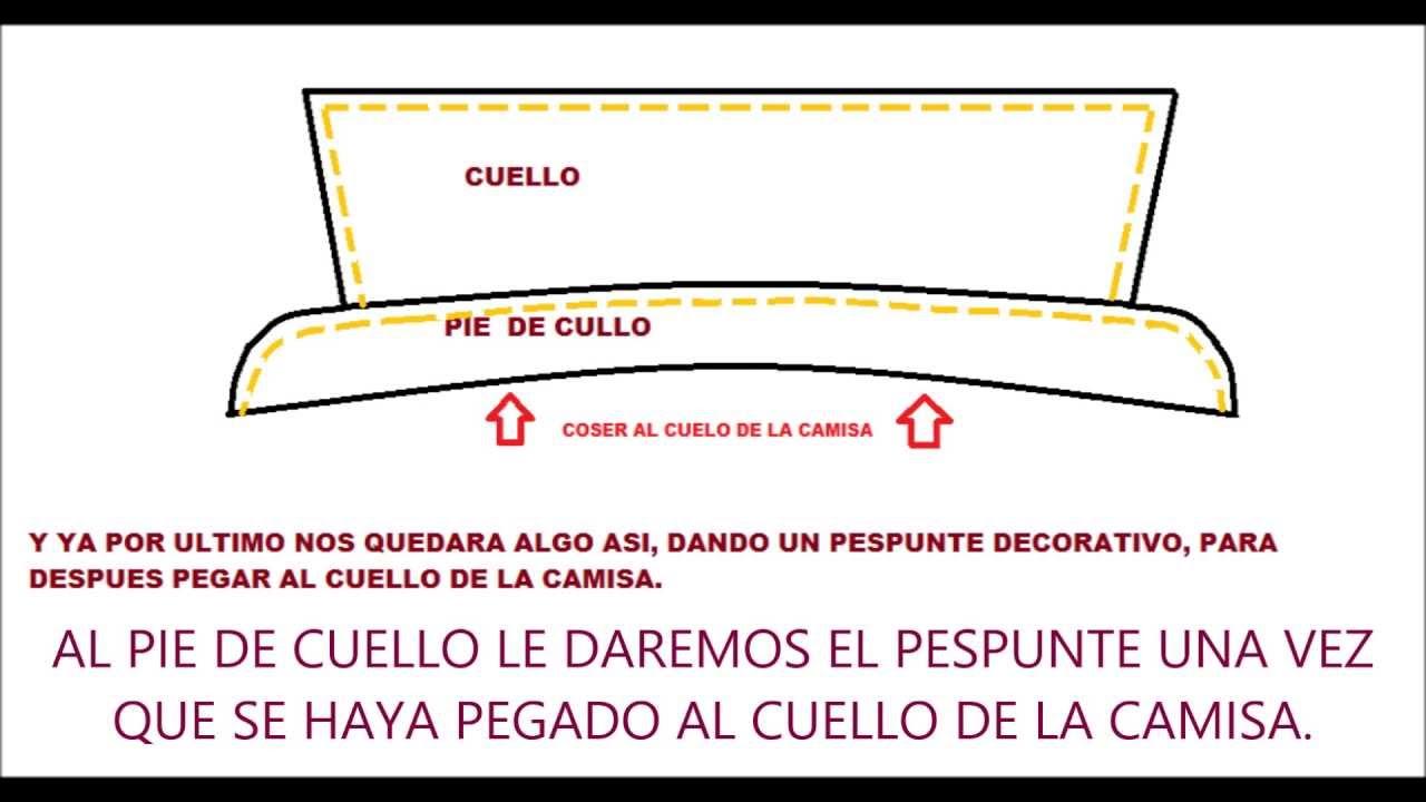 COMO HACER EL CUELLO Y PIE DE CUELLO DE LA CAMISA HOMBRE