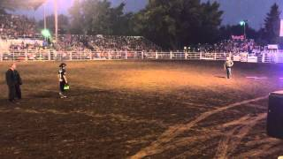 prca rodeo clown jj harrison steals k9 police car with k9 inside at the canby rodeo