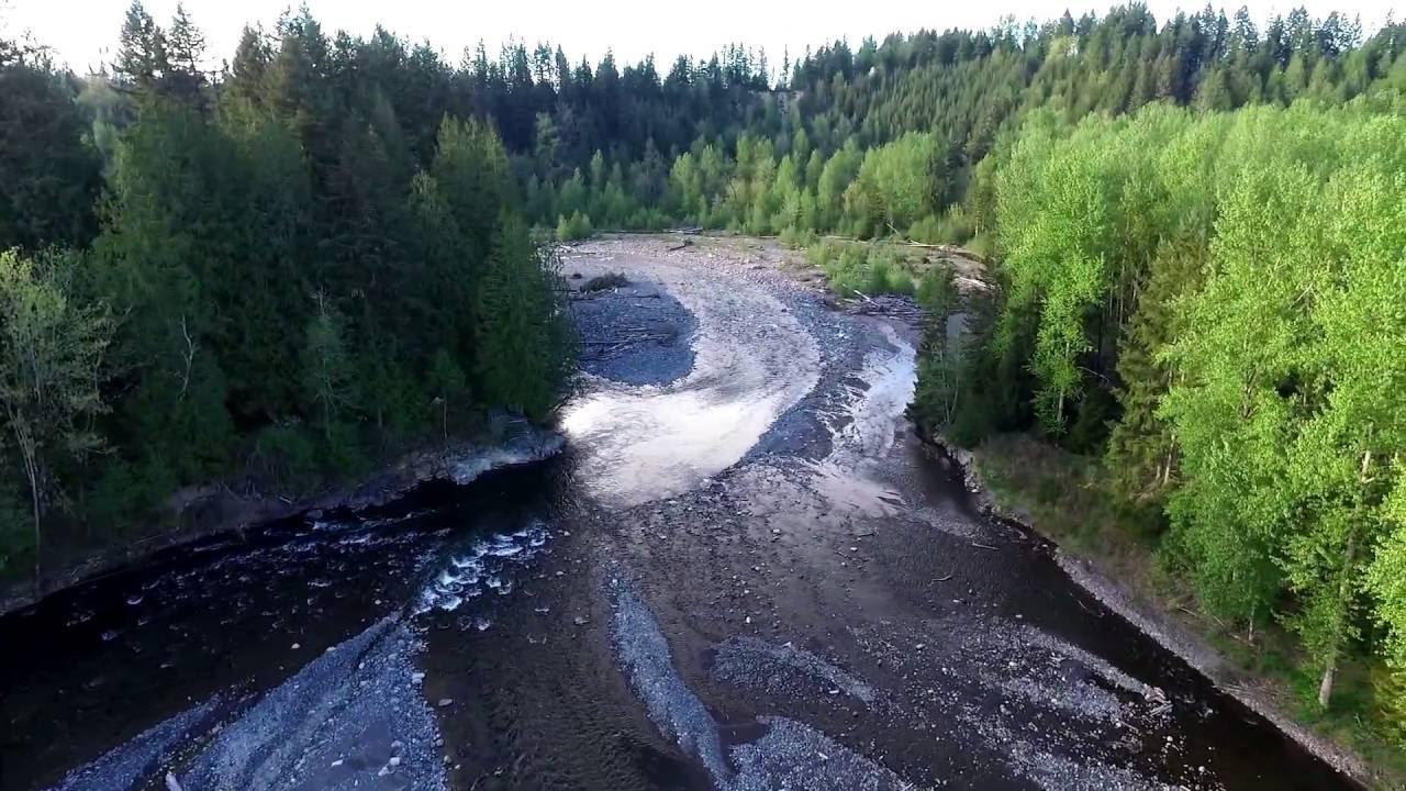Puyallup River in Pierce County, WA - HD drone video