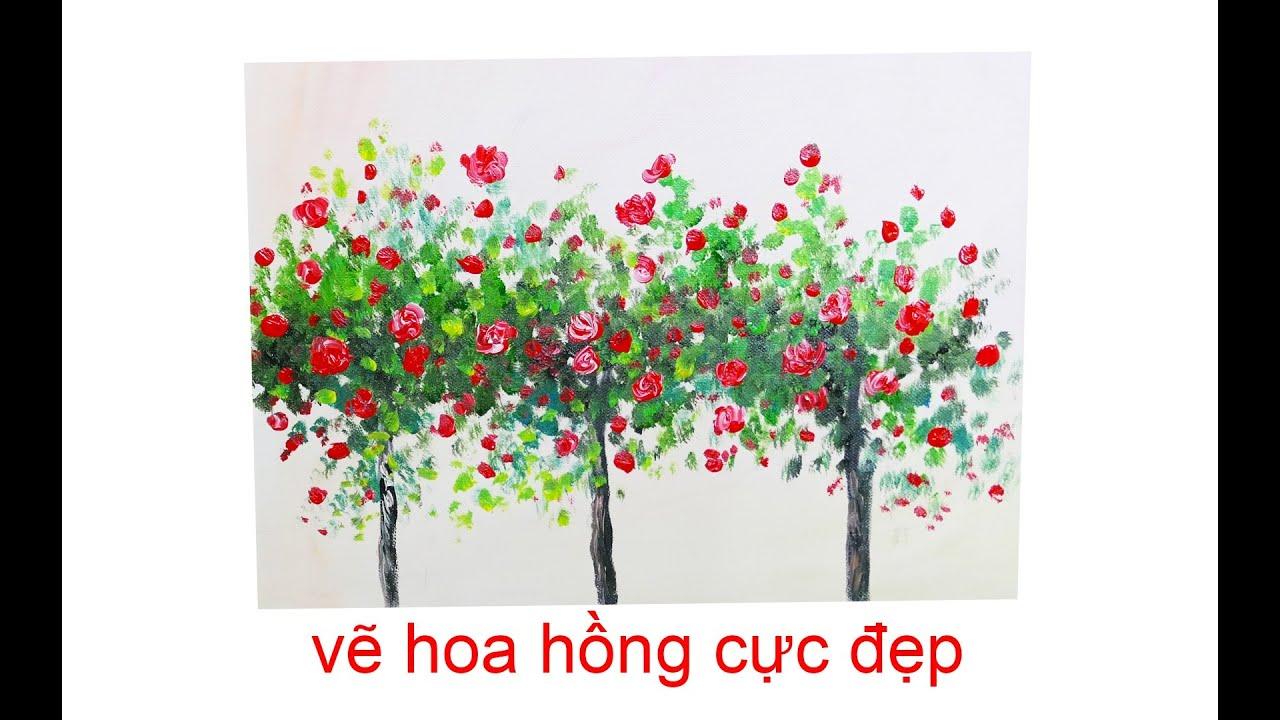 Vẽ dàn hoa hồng đơn giản, cực đẹp