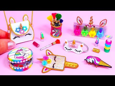 10 DIY Miniature UNICORN Cosmetics or UNICORN Makeup || Bag, Eyeshadow palette BARBIE DOLL HACKS
