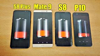 Samsung Galaxy S8 Plus vs Huawei Mate 9 vs Huawei P10 vs Galaxy S8 - Battery Drain Test! (4K)
