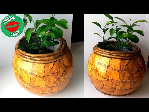 Pot de fleurs en ciment / Imitation de marbre