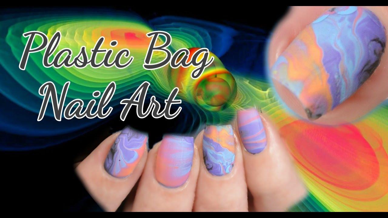 Plastic Bag Nail Art Tutorial Pastel Galaxy Youtube