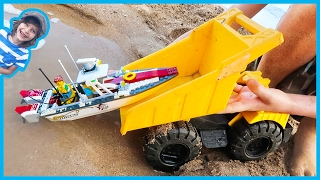 Dump Truck Launches Lego Fishing Boat + Time Lapse Build