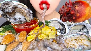 ASMR RAW SEAFOOD 뿔소라, 멍게회, 낙지회, 전복회, 석화, 바다포도 먹방 *OCTOPUS, OYSTER, ABALONE EATING SOUNDS MUKBANG