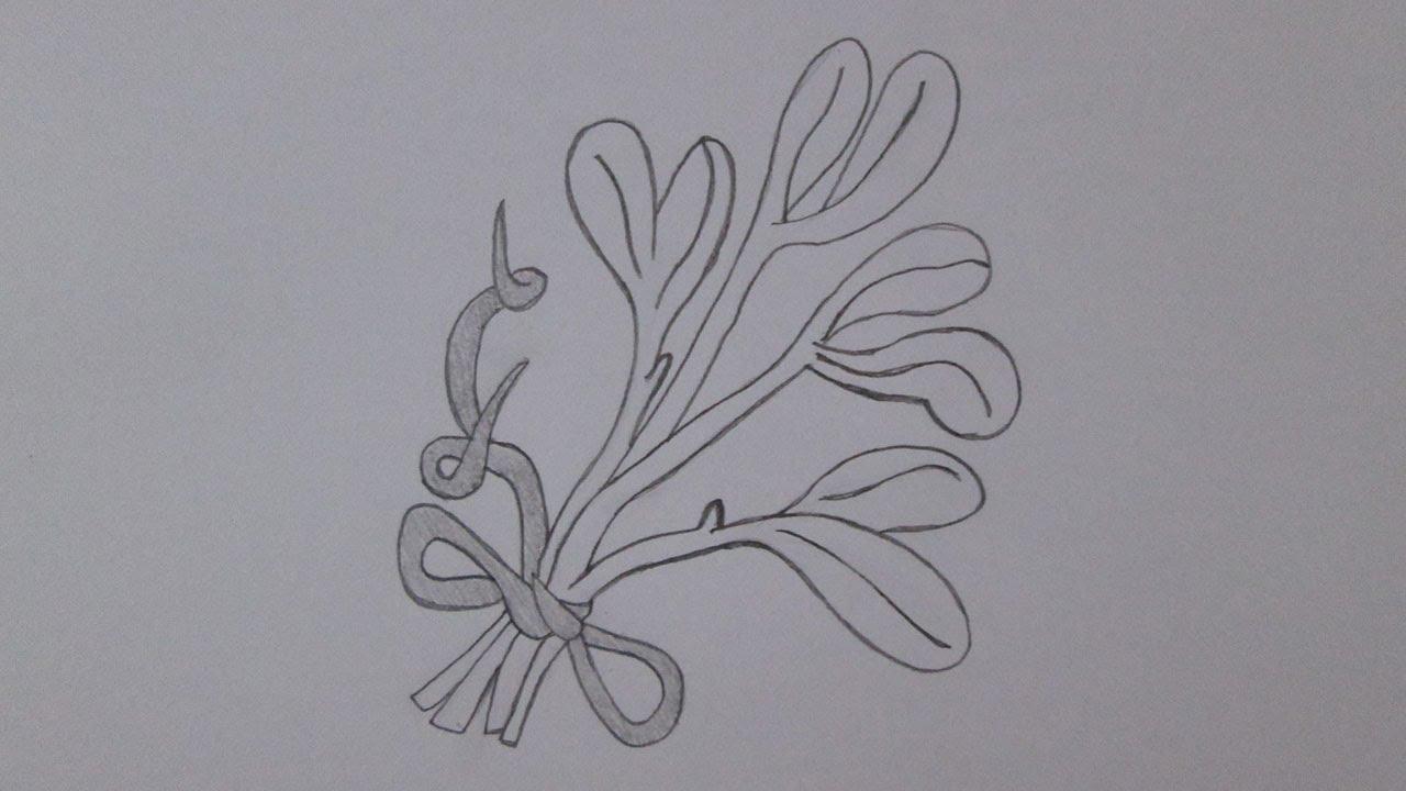 How To Draw A Mistletoe (christmas Ornament)