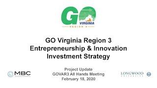 GO Virginia Region 3 Entrepreneurship and Innovation Investment Strategy Progress Report