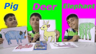 Guka pretend play with colorful pens, learn colors and animals names