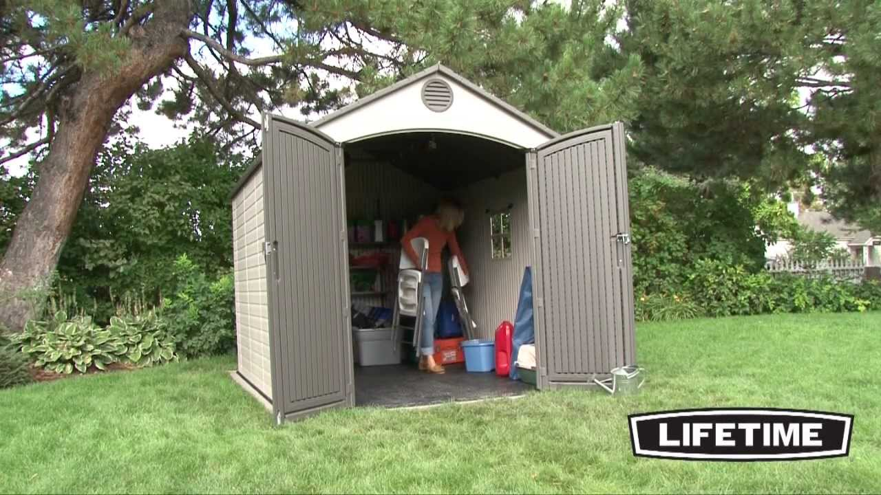 lifetime 8 x 10 foot outdoor storage shed model 60018 youtube