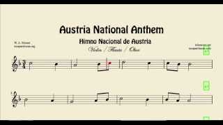 Austria National Anthem Sheet Music for Violin Flute and Oboe