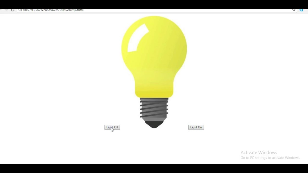 Htmlcss Javascript Bulb Project To On And Off Bulb By Bk Tutorial