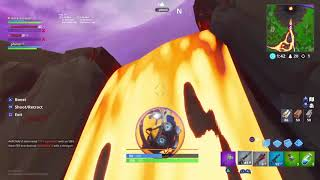 Going max height in fortnite with the lava ball glitch(doesnt end well )