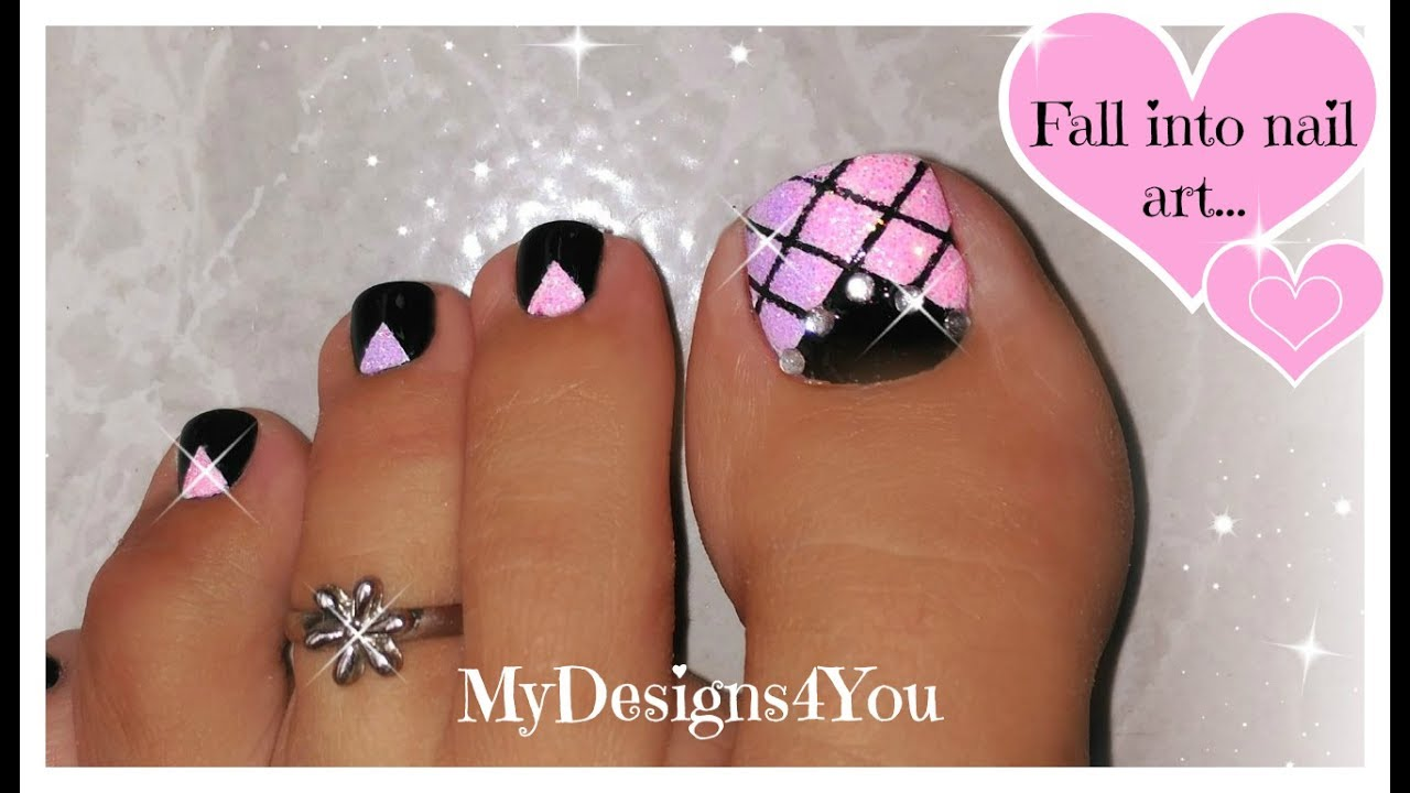 Pink Gradient Glitter Toenail Art Tutorial ♥ Pedicure - YouTube