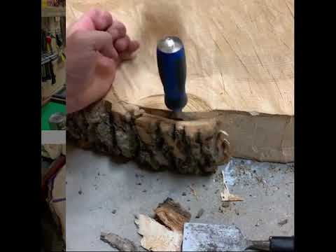 Wood slice bark removal