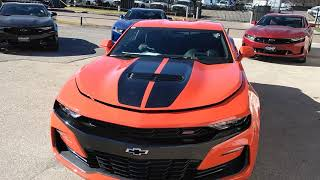 2019 Chevy Camaro SS Orange Crush With Black Stripes 6.2L 10 SPEED AUTO