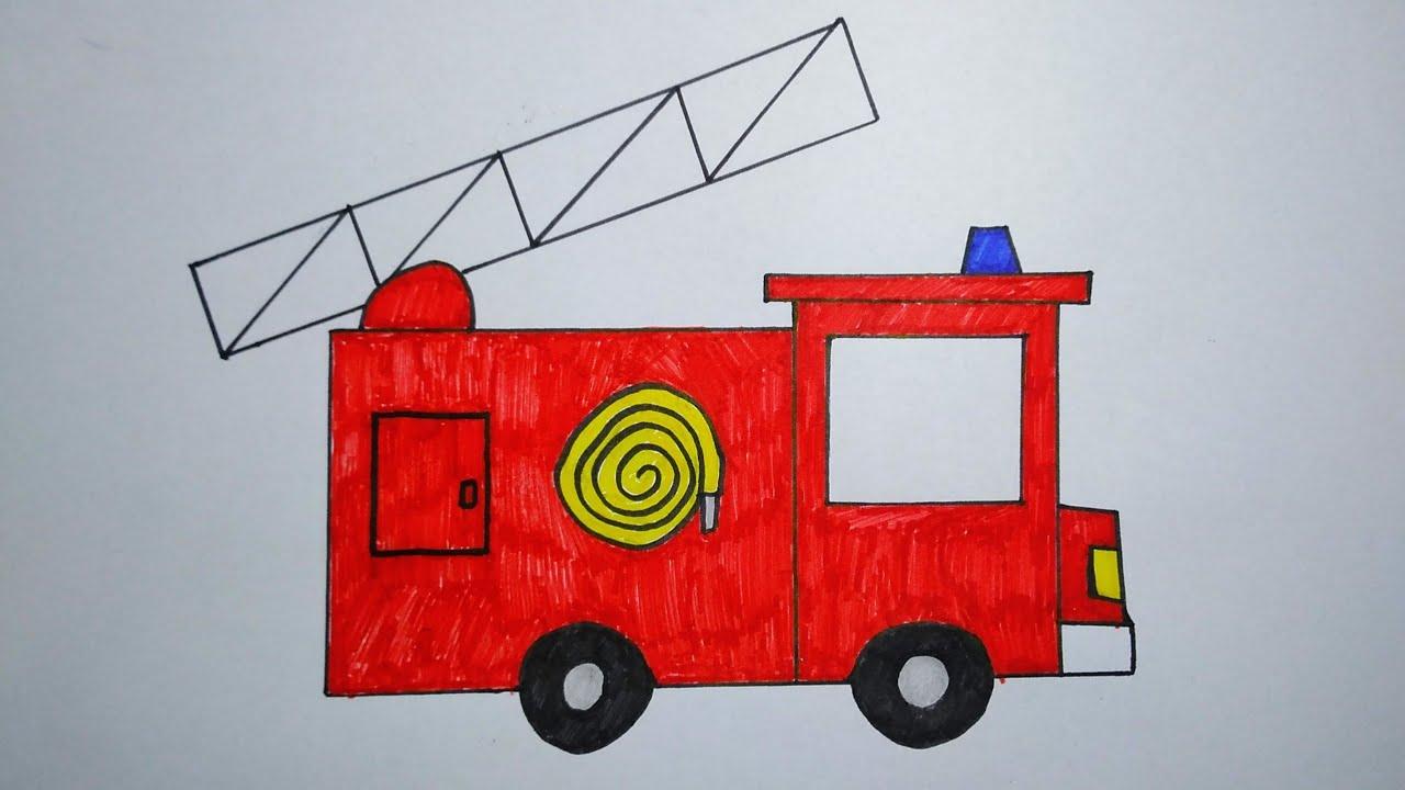 رسم عن الدفاع المدني رسم سيارة اطفاء بطريقة سهلة رسم سهل جدا Youtube