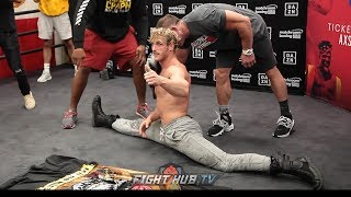 LOGAN PAUL SHOWS INSANE FLEXIBILITY AND DOES HANDSTANDS AHEAD OF KSI REMATCH!