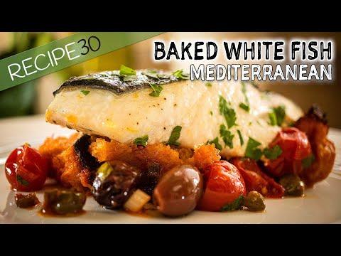 Mediterranean Baked White Fish In Tomato Sauce