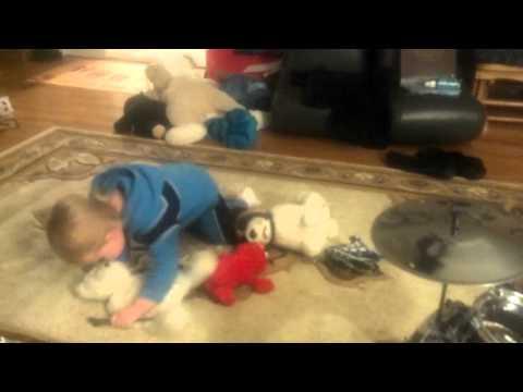 Little Drummer Boy Loves His Stuffed Animals