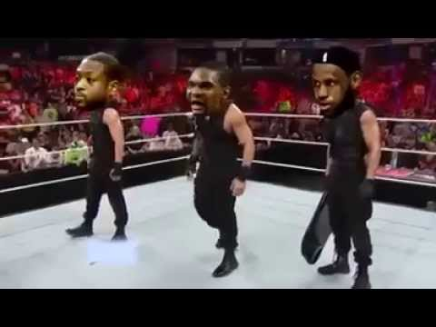 Lebron James Attacks Bosh and D. Wade with Steel Chair WWE x Wrestling [Parody] by Daveavin