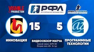Инновация - Программные технологии 15 : 5, чемпионат РФЛ-2019/20
