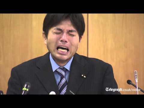 Bizarre video of sobbing Japanese politician goes viral