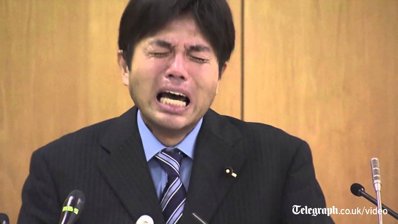 Download Bizarre video of sobbing Japanese politician goes viral