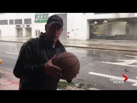 Reporter sees how far he can throw basketball into Hurricane Irma winds
