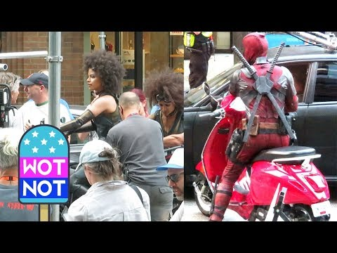 Deadpool on a Red Vespa Filming Stunt Scenes with Zazie Beetz