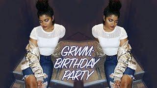 GRWM Curly Bun & Makeup // BIRTHDAY PARTY