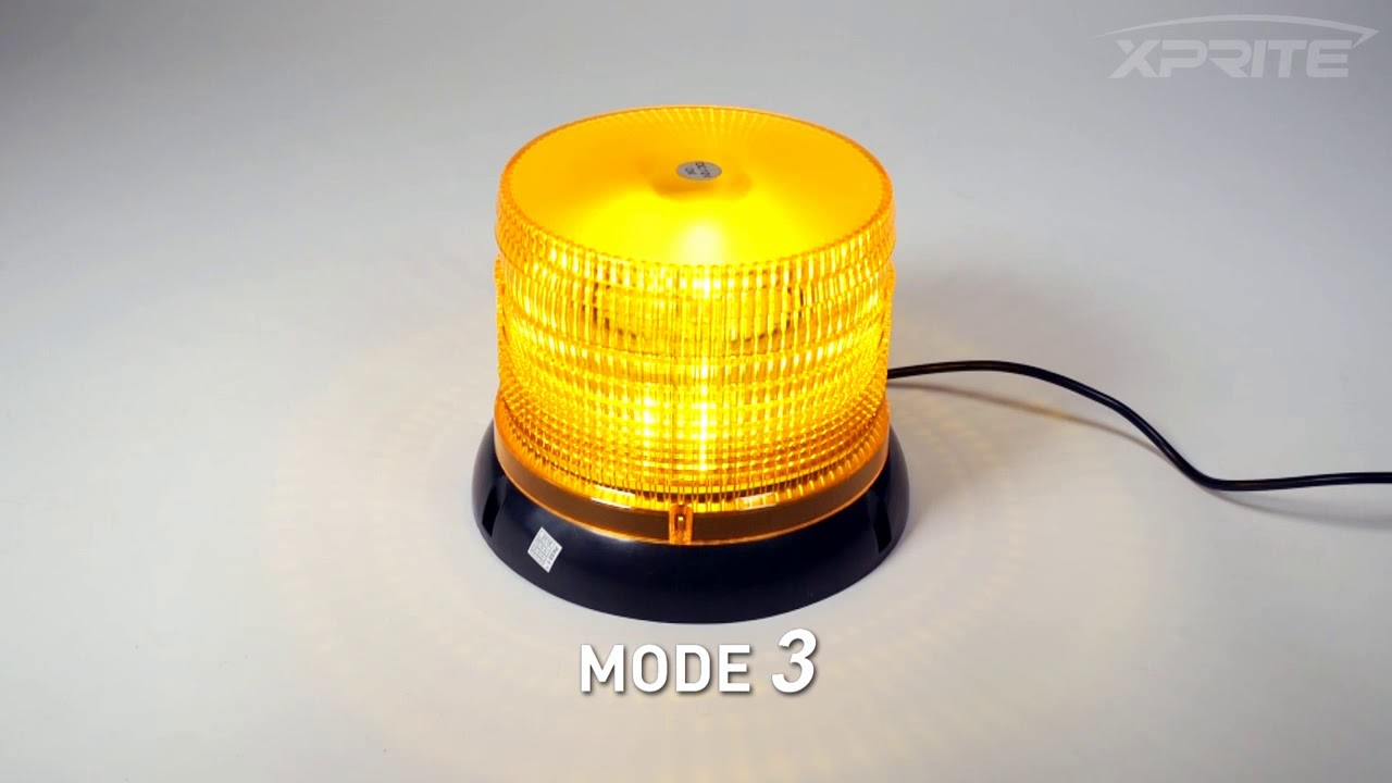 Xprite 6 14 Modes High Intensity Yellow Revolving 12 LED 36W LED Emergency Vehicle Magnetic Mount Strobe and Rotating Beacon Warning Light Amber