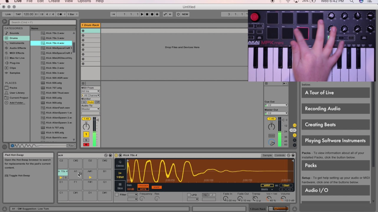 How To Assign Samples To Drum Pads/Keys in Ableton Live 9 (Akai MPK Mini)