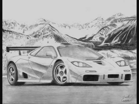 McLaren F1 LM pencil drawing - YouTube