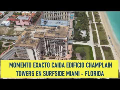 Cámara de Seguridad capta el momento exacto Colapso Edificio en Surfside en Miami Florida 24 junio