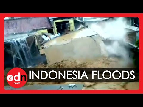 Shocking Moment Building is Washed Away by Flood in Indonesia