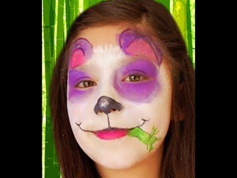 Purple Panda Face Paint Design Video Tutorial - YouTube