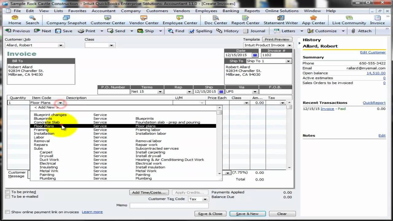 default invoice template in qb - youtube, Invoice examples