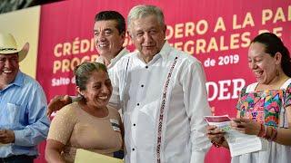 Entrega de 'Crédito Ganadero a la Palabra', desde Salto de Agua, Chiapas.