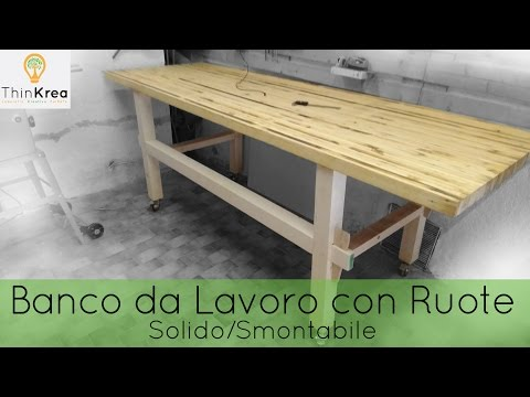 Homemade Workbench diy with wheels-  time-lapse