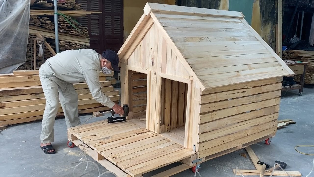 Diy Design Ideas For Woodworking Projects From Pallet Wood Build A Pet Wooden House From Pallets Youtube