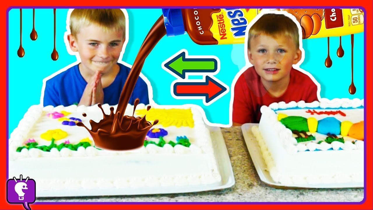 CHOCOLATE Syrup CAKE SWITCH UP CHALLENGE! HobbyBear VS HobbyFrog with HobbyKidsTV