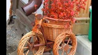Необычные клумбы из велосипеда.Как сделать красивую клумбу велосипед