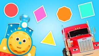 Учим геометрические фигуры с машинками. Развивающие мультфильмы для детей.
