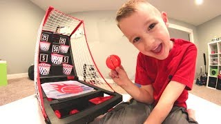 FATHER SON TRAMPOLINE BASKETBALL! / Trick Shots & Game!