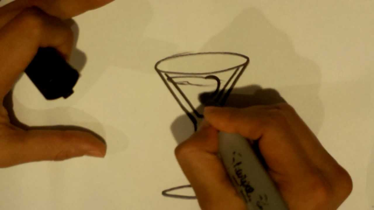 how to draw a martini glass easy drawings youtube rh youtube com how to draw a cocktail glass in illustrator Martini Glass Coloring Page