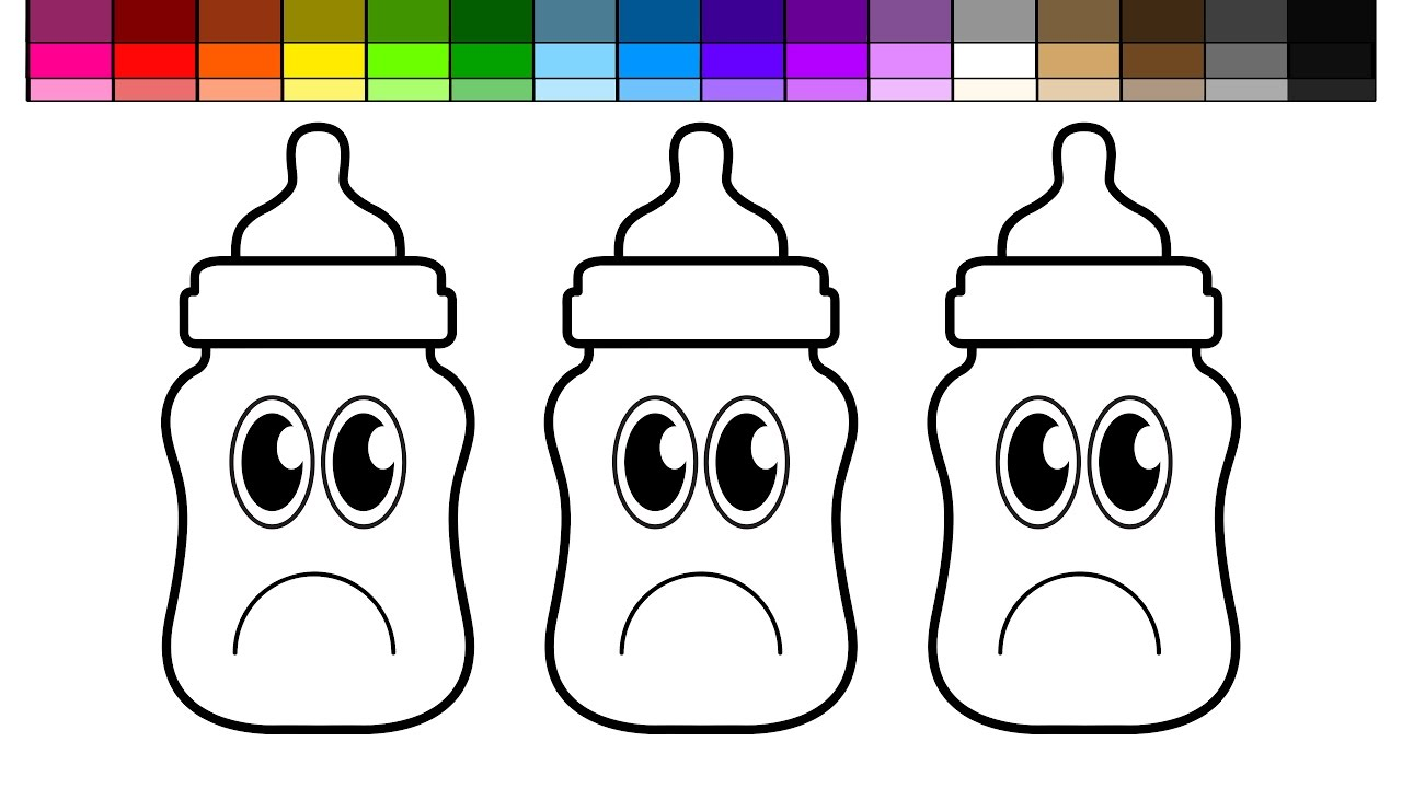 Learn Colors for Kids and Color Sad Baby Bottles Coloring